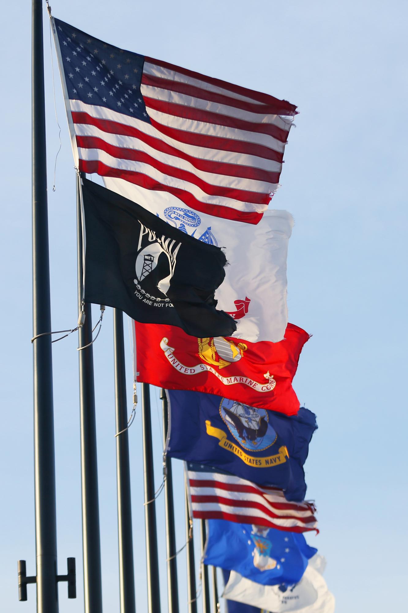 military and POW/MIA flags
