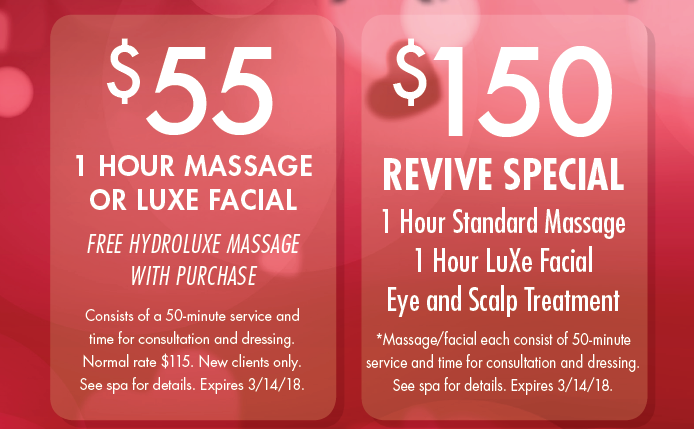 valentine's day massage & facial packages at massageluxe, Ideas