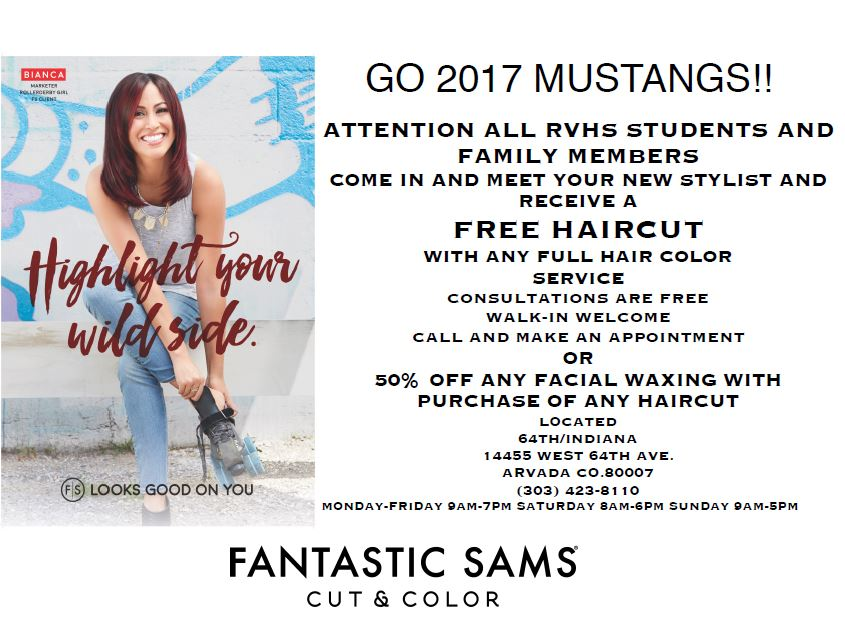 Rvhs Free Haircut With Any Color Service Fantastic Sams