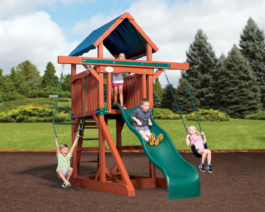 The E Saver Unit Is Perfect Play Set For Small Yards This Has A Covered Roof Slide And 2 Position Accessory Swing Beam With Room