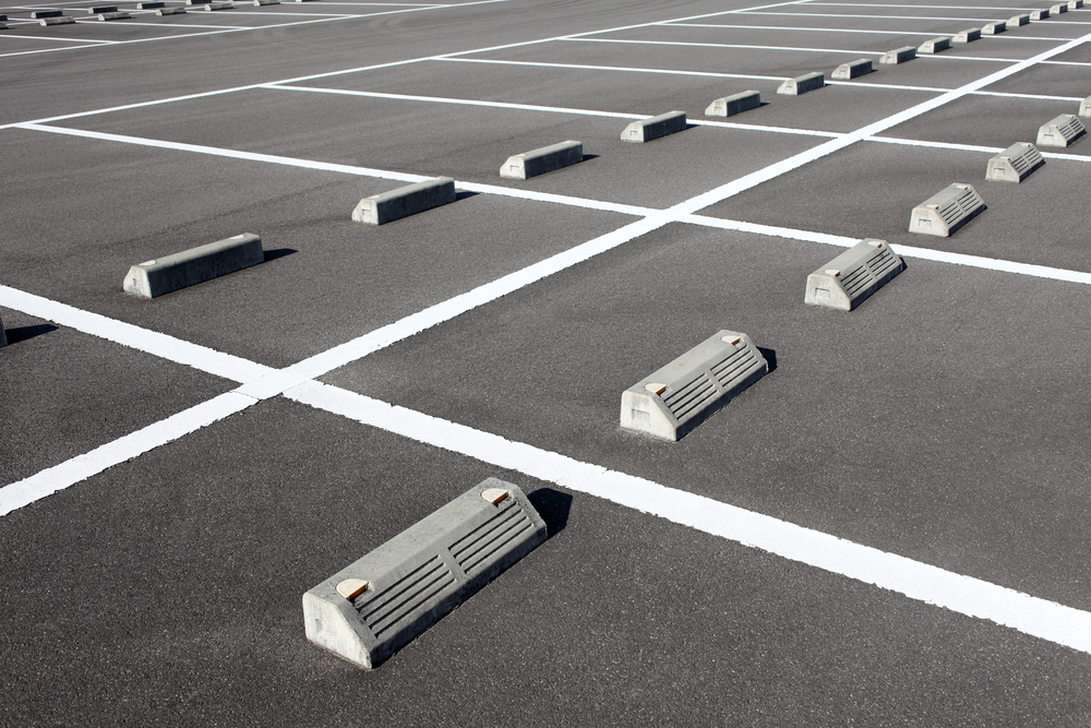 Parking Lot With Cars And Trucks