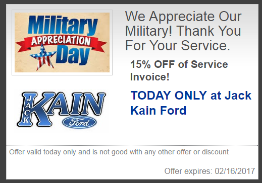 15 off military discount today jack kain ford inc versailles nearsay. Black Bedroom Furniture Sets. Home Design Ideas