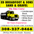 Broadfoot Ed & Son's Sand & Gravel Company, Grading Contractors, Excavating, Stone and Gravel Contracting, Kearney, Nebraska
