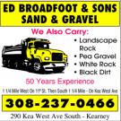 Broadfoot Ed & Son's Sand & Gravel Company, Grading Contractors, Excavating, Stone and Gravel Contracting, Kearney, Nebraska
