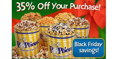 Black Friday savings of 35% today only at POPtions! Popcorn, Clayton, Missouri