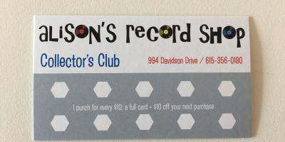 Alison's Record Shop Collector's Club!, Nashville-Davidson, Tennessee