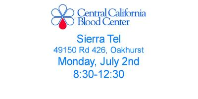 Blood Drive on July 2, Oakhurst, California