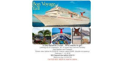 5 Day Bahama Cruise! Who wants to go?, Raleigh, North Carolina