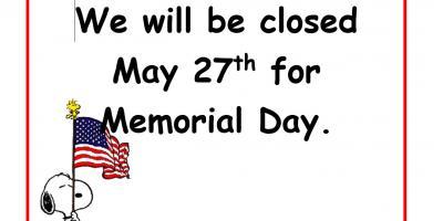 Closed for Memorial Day, Fairfield, Ohio