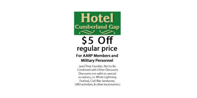 $5 OFF REGULAR PRICE - Hotel Cumberland Gap, Cumberland Gap, Tennessee