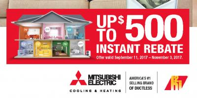 Install a Mitsubishi Electric System & Get Up to $500 Back!, Ramtown, New Jersey