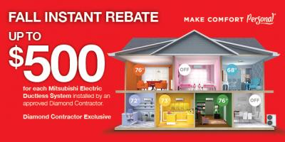 Up to $500 Rebate on Mitsubishi Electric® Ductless Heating, Ipswich, Massachusetts