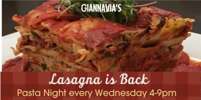 GiannaVia's Baked Lasagna returns, Whitehall, Pennsylvania