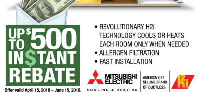 Up to $500 Spring Rebate on Mitsubishi® Electric Systems, Queens, New York