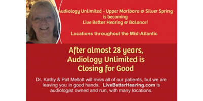 Audiology Unlimited is closing, Forest Glen, Maryland