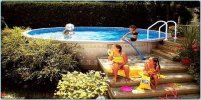 Clearance pricing on above-ground pools, East Rochester, New York