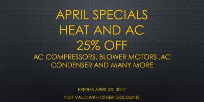 APRIL SPECIALS ALL HEAT AND AC PARTS  25%OFF, Hebron, Kentucky