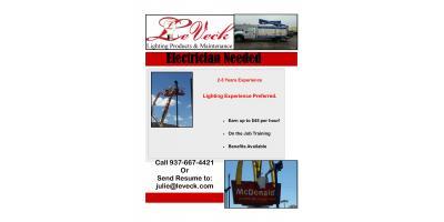 Sign/Lighting Technician Needed in the Cincinnati/Northern Kentucky Area, Tipp City, Ohio