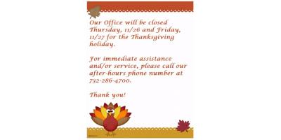 Happy Thanksgiving!!  For service after 4pm today thru 8am Monday, please call our after-hours # at 732-286-4700., Forked River, New Jersey