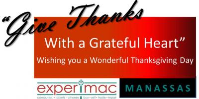 Happy Thanksgiving From Your Local Apple® Experts At Experimac Manassas, Prince William County, Virginia