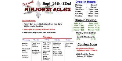 This Week at Ninjobstacles - Sept 16th-22nd, Centerville, Ohio