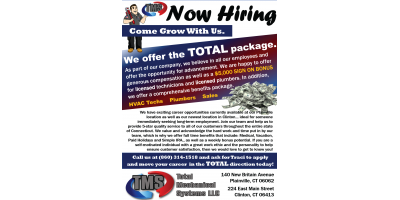Now Hiring - We Offer The Total Package!, Plainville, Connecticut