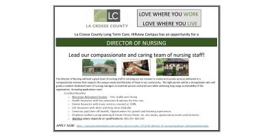 Hillview Health Care Center is seeking a Director of Nursing, La Crosse, Wisconsin