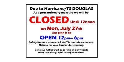 Hurricane Douglas Hours change, Honolulu, Hawaii
