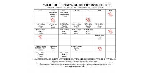 updated wild horse group fitness class schedule  wild
