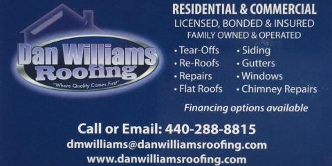 Dan Williams Roofing, Roofing, Services, Lorain, Ohio