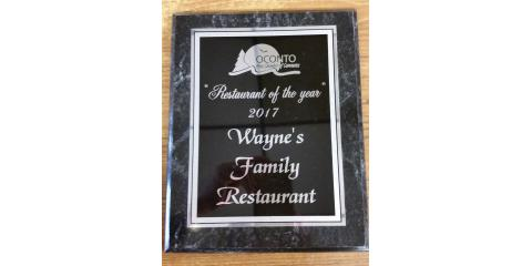 Restaurant of the Year Award 2017, Oconto, Wisconsin