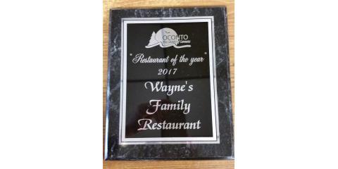 Restaurant of the Year Award 2017, Oconto, Wisconsin