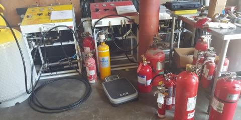 Halon recharge of fire extinguishers and systems, Long Beach-Lakewood, California