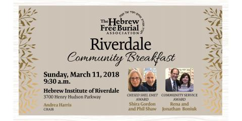 The Hebrew Free Burial Association Celebrates 21st Annual Riverdale Community Breakfast at HIR, New York, New York
