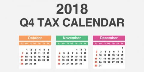 2018 Qtr 4 Tax Calendar, Mountain Home, Arkansas