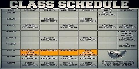 Updated Class Schedule, Atlanta, Georgia
