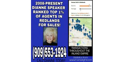 DIANNE SPEAKER RANKED TOP 1% OF AGENTS IN REDLANDS, San Bernardino, California