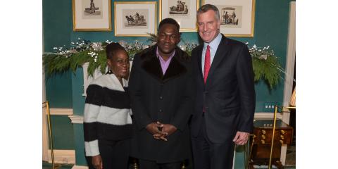 Dr. Romelus (Dj Scripz), Mayor Bill De Blasio, and 1st Lady Chirlane McCray At Gracie Mansion, Manhattan, New York