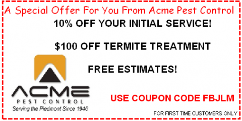 Special Deal! Save 10% or $100 at Acme Pest Control, Concord, North Carolina