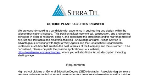 Sierra Tel job open in Outside Plant Facilities, Mariposa, California