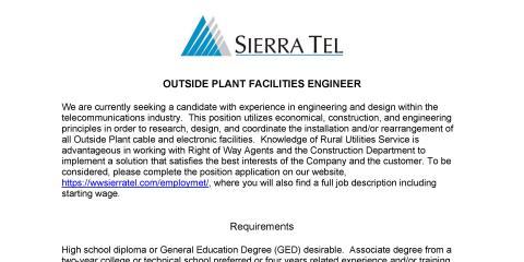 Sierra Tel job open in Outside Plant Facilities, Oakhurst-North Fork, California