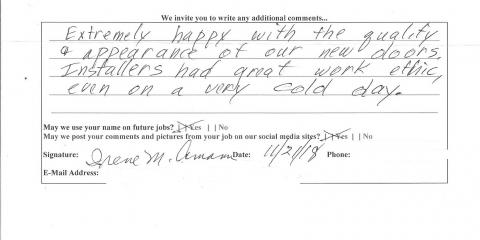 Positive Review for JFK Window and Door from Cincinnati, Forest Park, Ohio