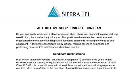 Sierra Tel has jobs open in Auto Shop for a Jr Mechanic, Mariposa, California