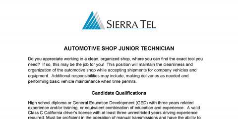 Sierra Tel has jobs open in Auto Shop for a Jr Mechanic, Oakhurst-North Fork, California