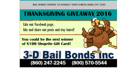 3-D Bail Bonds Celebrates Thanksgiving with A  Giveaway!, ,