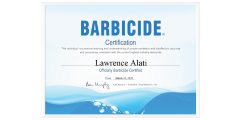 We Are Now A Barbicide Certified Salon!, Penfield, New York