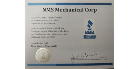 NMS Mechanical is now accredited...., Prior Lake, Minnesota