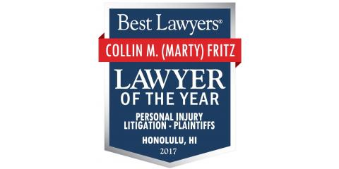 Colin M. Fritz Recognized as Oahu's Personal Injury Lawyer of the Year, Honolulu, Hawaii