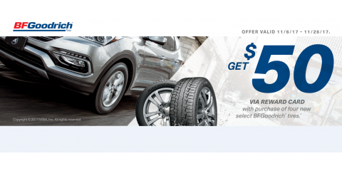 Get a $50 MasterCard® Reward Card after submission* with purchase of four new BFGoodrich® Tires, Rocky Ford, Colorado