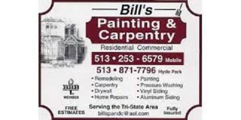 Let Bill's Painting & Carpentry Take The Stress Out of Interior Painting, Cincinnati, Ohio